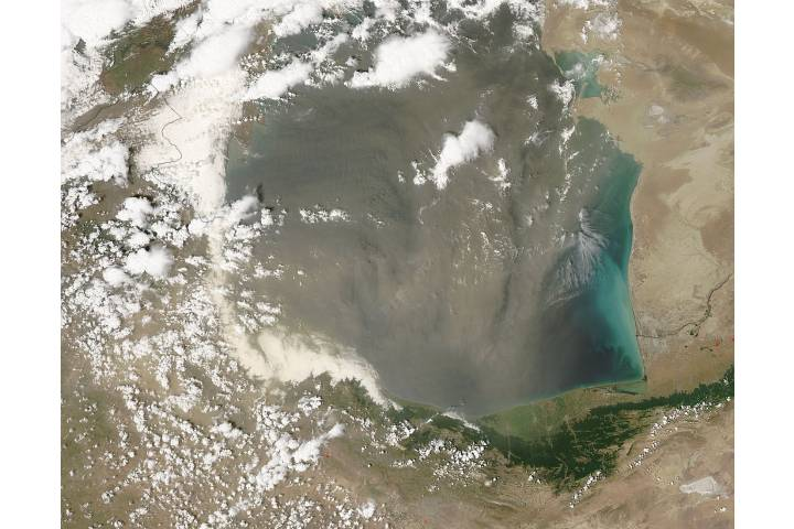 Dust storm over the southern Caspian Sea - selected image