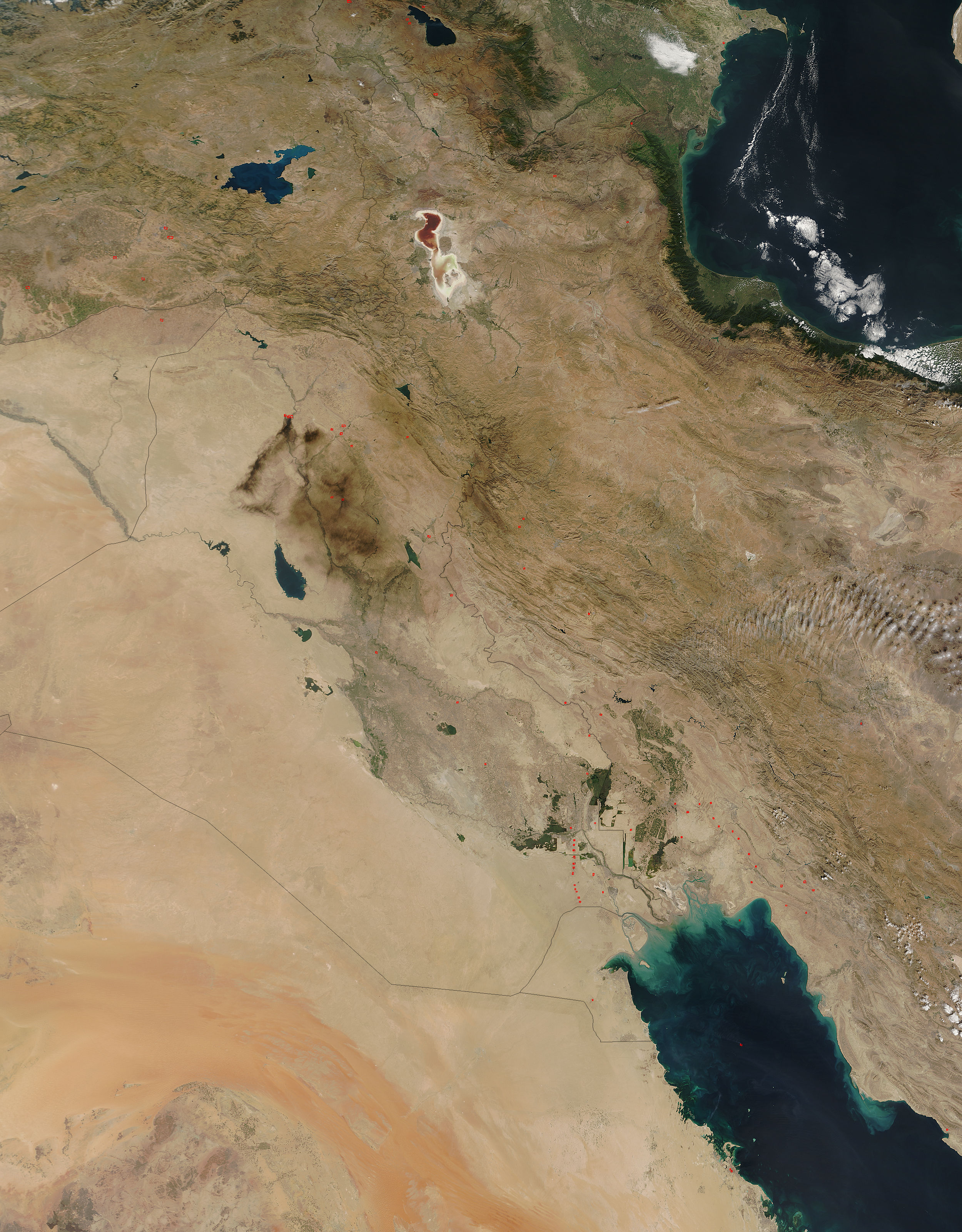 Oil fires, gas flares, and fires in the Middle East - related image preview