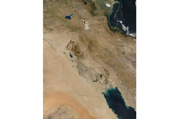 Oil fires, gas flares, and fires in the Middle East - selected image