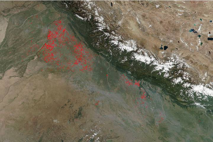 Fires in northwest India - selected image