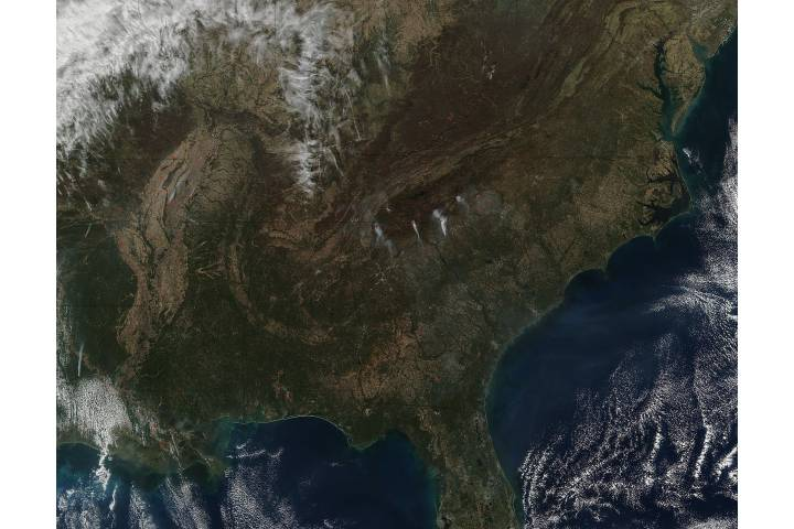 Fires across the southeastern United States - selected image