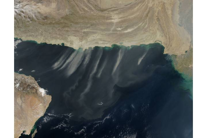 Dust storms over the Arabian Sea (afternoon overpass) - selected image