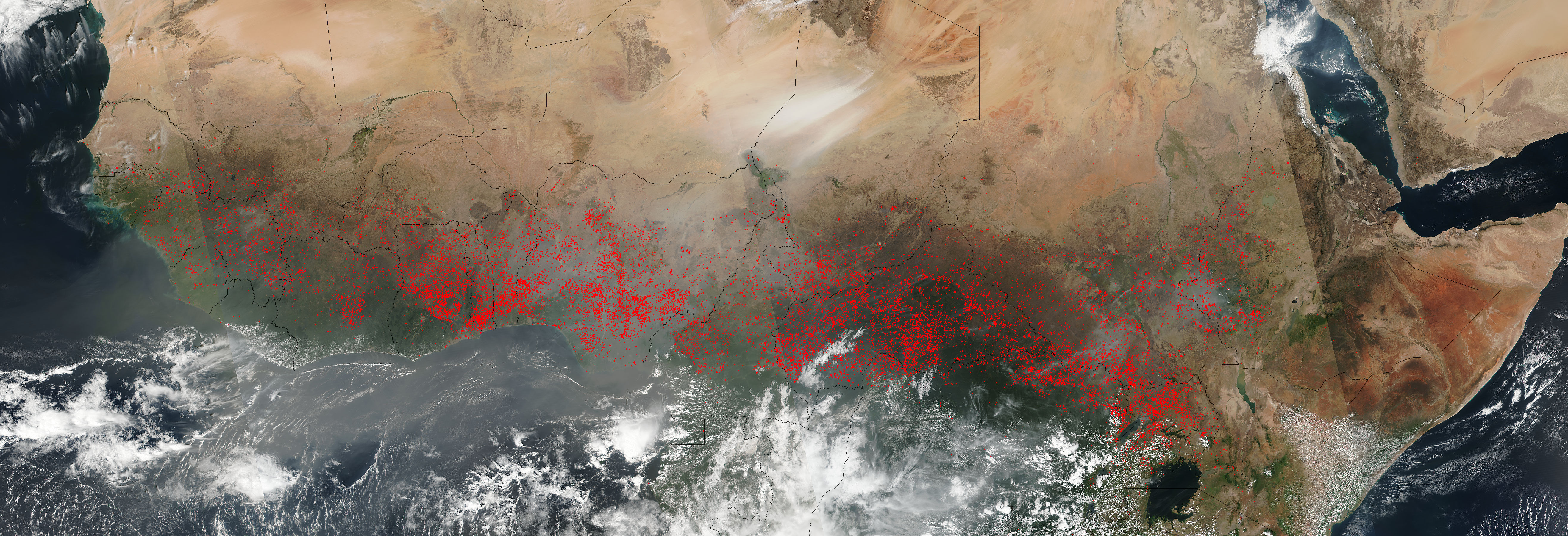 Fires and dust across western and central Africa - related image preview