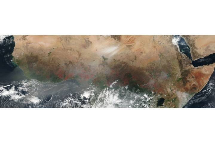 Fires and dust across western and central Africa - selected image