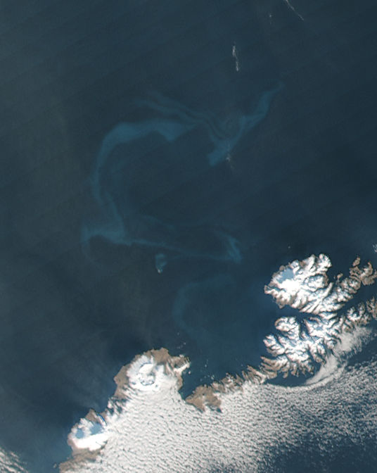Ash in water from eruption of Bogoslof, Alaska - related image preview