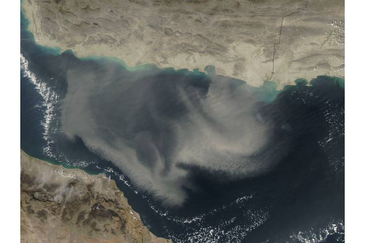 Dust storm in the Gulf of Oman - selected image