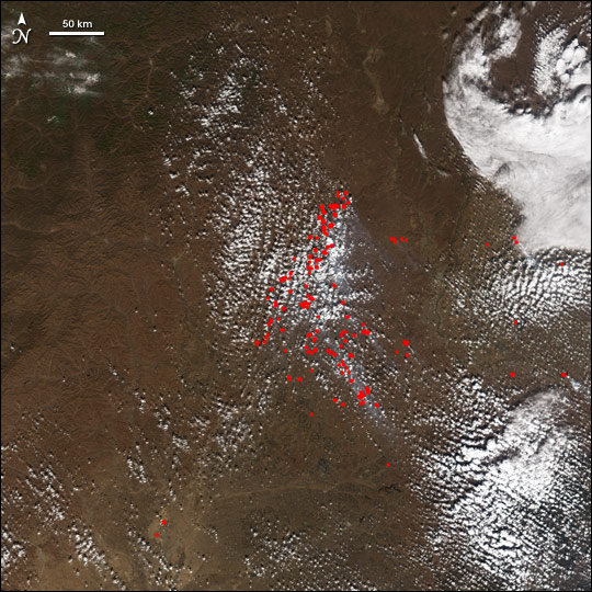Autumn Fires in China and Russia