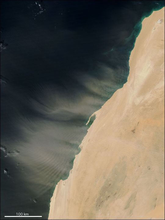 Dust Storm off Western Sahara Coast