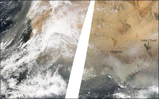 Dust Storm off Western Sahara Coast