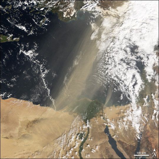 Dust storms out of Egypt