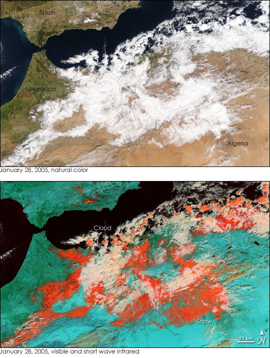 Snow over Northern Africa