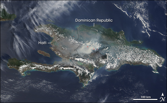 Fires on Hispaniola