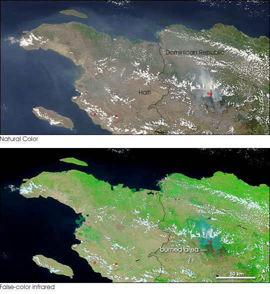 Fires on Hispaniola