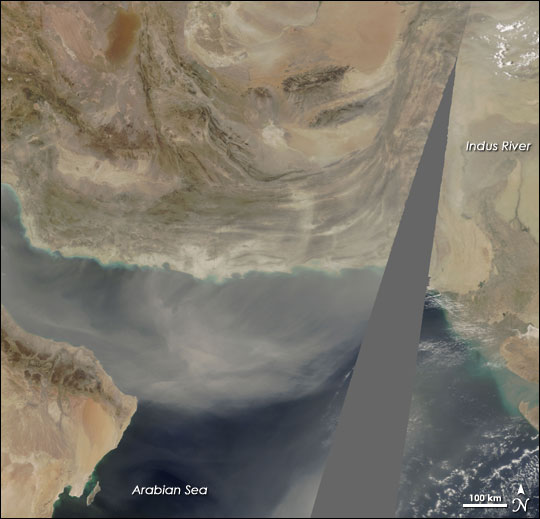Dust from Southwest Asia over Arabian Sea