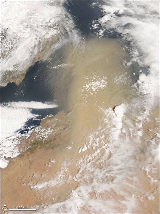 Dust Storm Off the Coast of Algeria