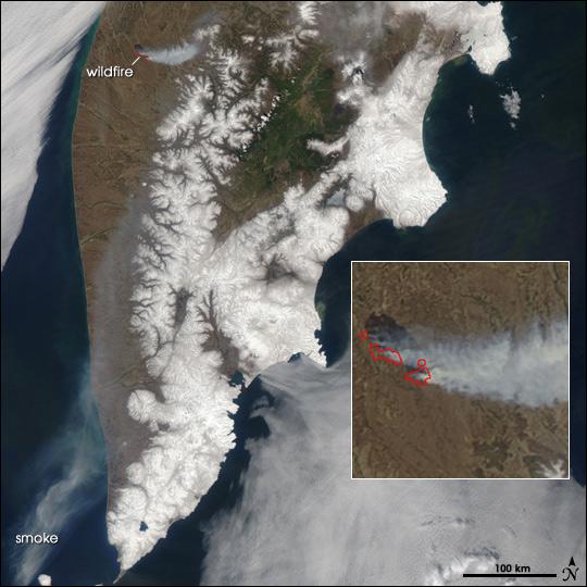Fire on Kamchatka Peninsula