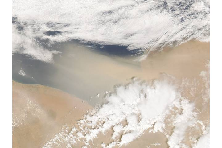 Dust storm off Libya (afternoon overpass) - selected image