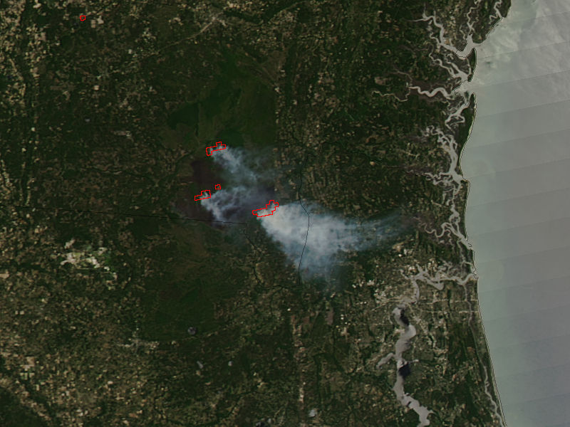 Nasa Visible Earth West Mims Fire Georgia True Color