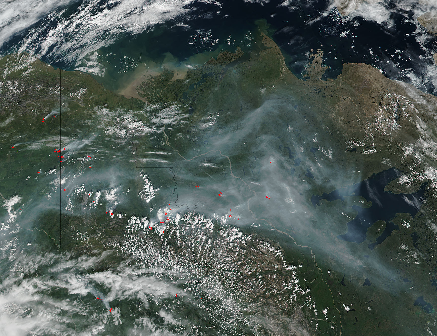 Fires and smoke in northwestern Canada - related image preview