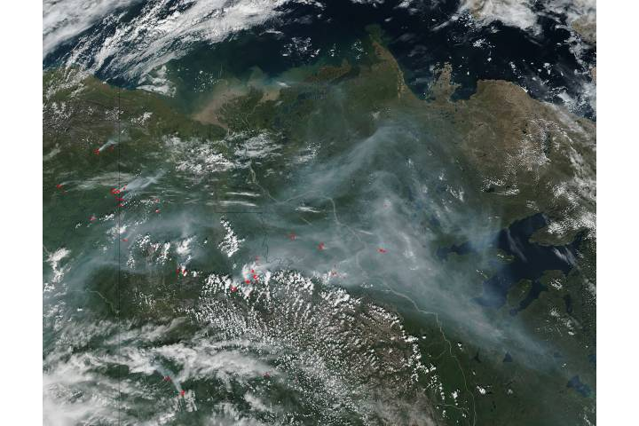 Fires and smoke in northwestern Canada - selected image