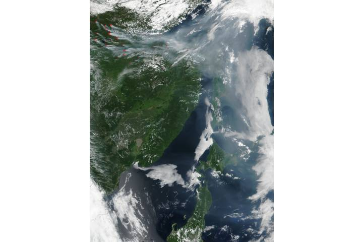 Smoke from fires in eastern Russia - selected image
