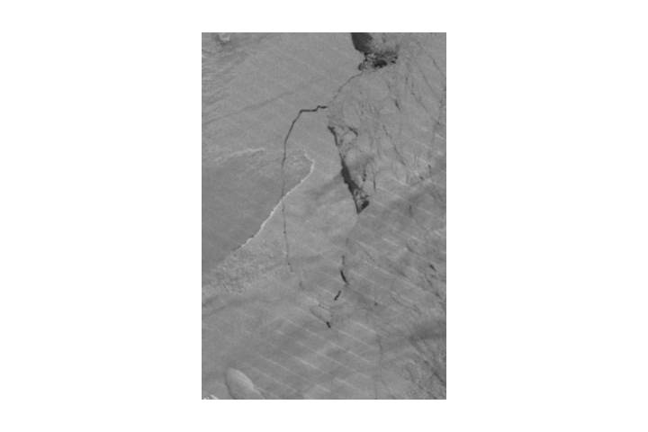 Iceberg breaking off from Larsen C ice shelf, Antarctica (Day/Night Band) - selected image