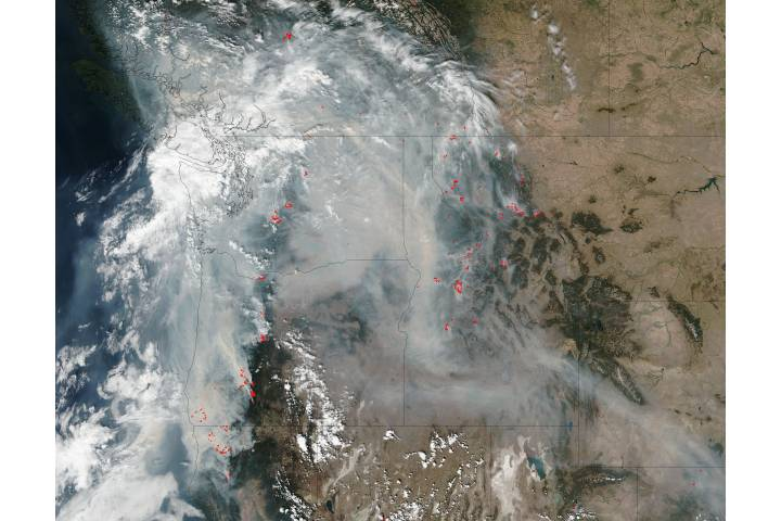 Fires and smoke in the Pacific Northwest - selected image