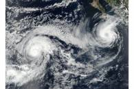 Hurricane Otis (15E) and Tropical Storm Norma (17E) in the eastern Pacific Ocean