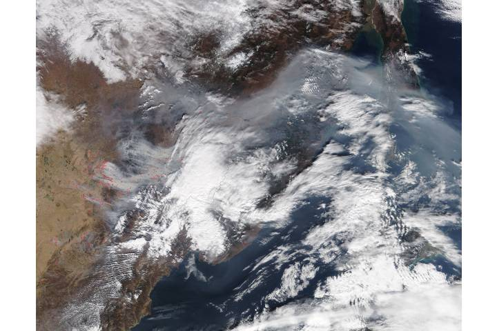 Fires and smoke in eastern Asia - selected image