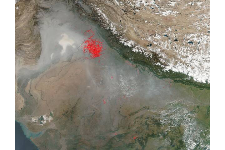 Fires and smoke in northern India - selected image
