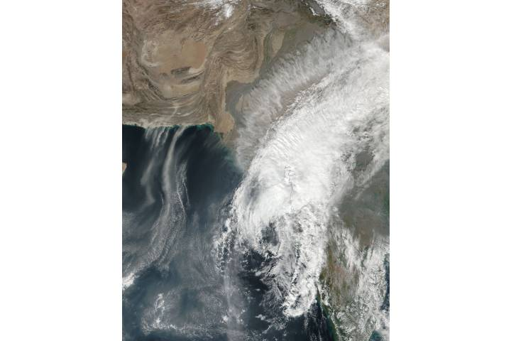 Tropical Cyclone Ockhi (03B) and dust storms in the Arabian Sea - selected image