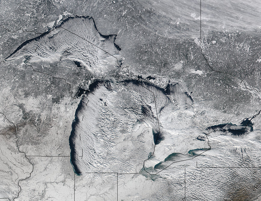 Cloud streets over the Great Lakes - related image preview