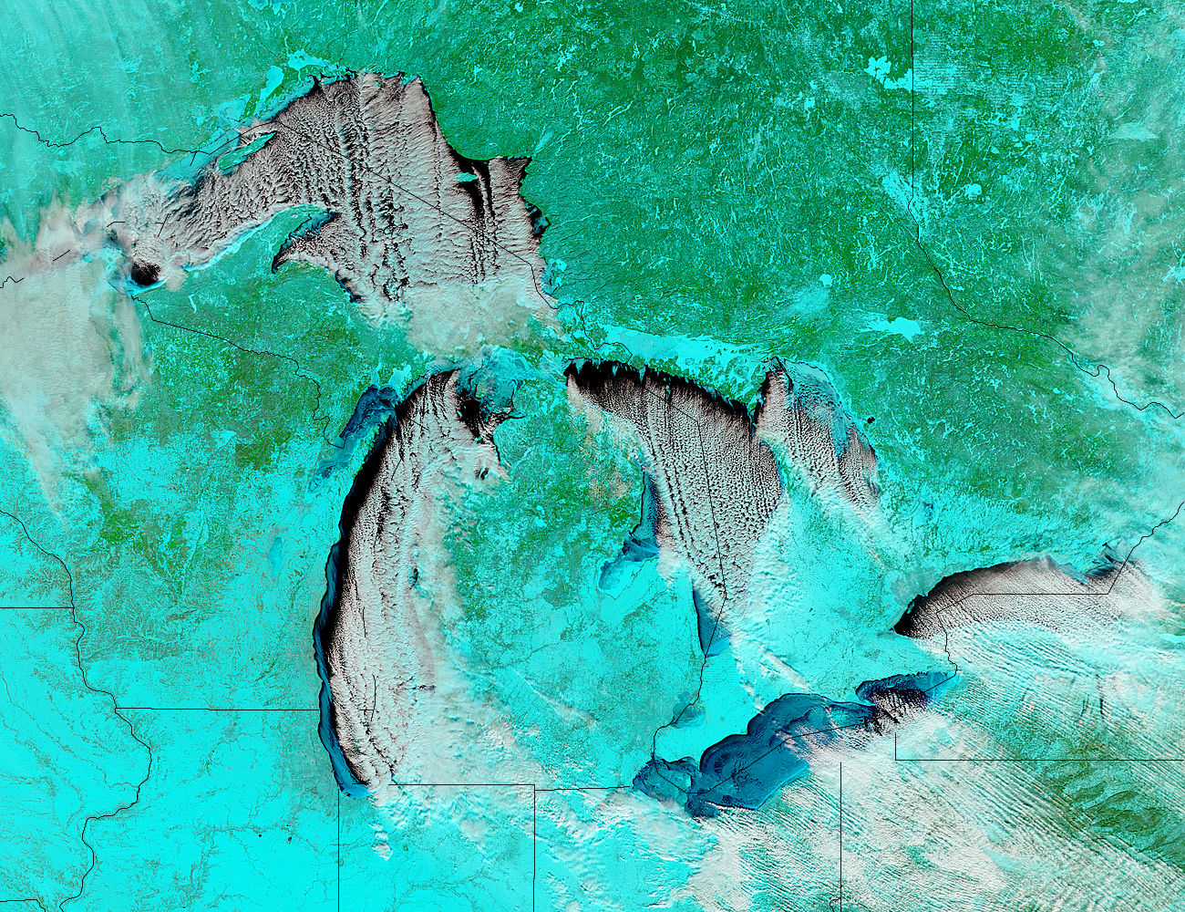 Cloud streets and ice on the Great Lakes (false color) - related image preview