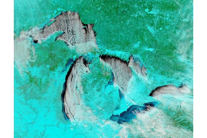Cloud streets and ice on the Great Lakes (false color) - selected image