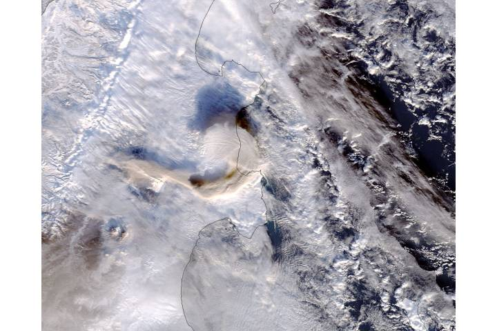 Plume from Shiveluch, Kamchatka Peninsula (morning overpass) - selected image