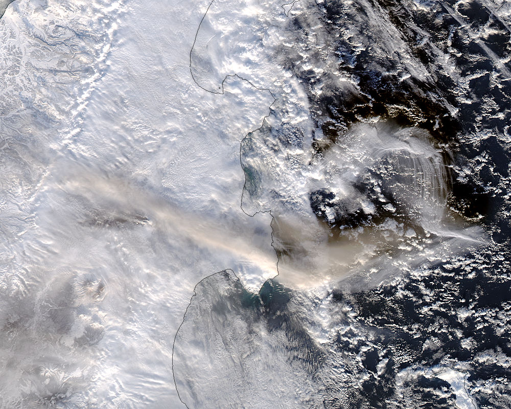 Plume from Shiveluch, Kamchatka Peninsula (afternoon overpass) - related image preview