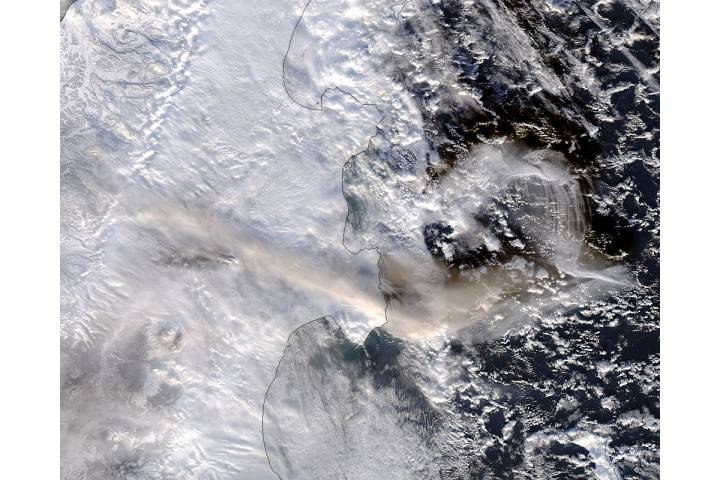 Plume from Shiveluch, Kamchatka Peninsula (afternoon overpass) - selected image