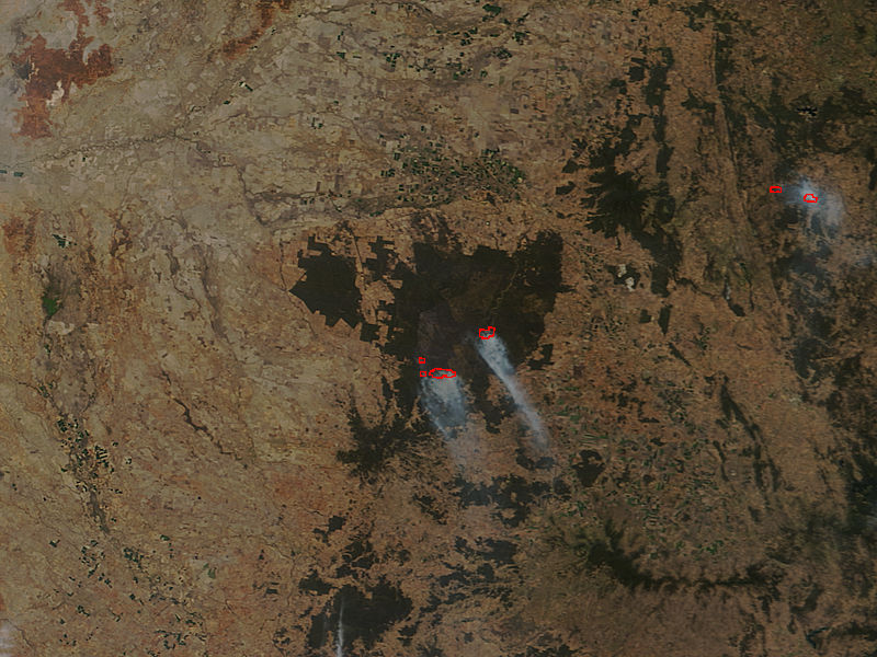 Fires and burn scar in Pilliga National Park, New South Wales (true color) - related image preview