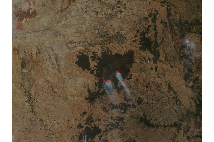 Fires and burn scar in Pilliga National Park, New South Wales (true color) - selected image