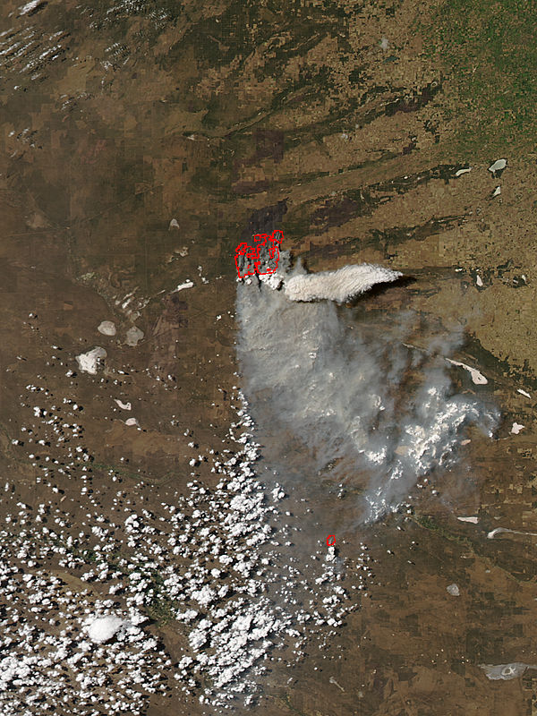 Pyrocumulonimbus cloud from fires in central Argentina - related image preview