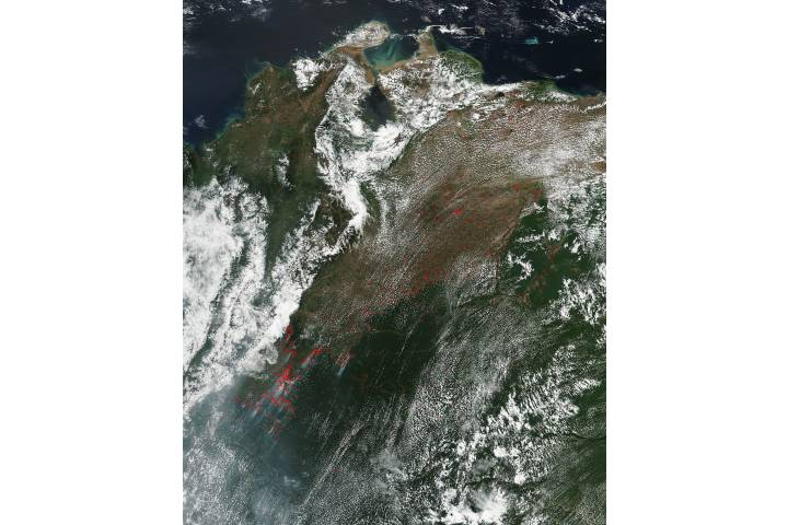 Fires in northwest South America - selected image