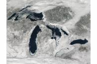 Ice on the Great Lakes (true color)