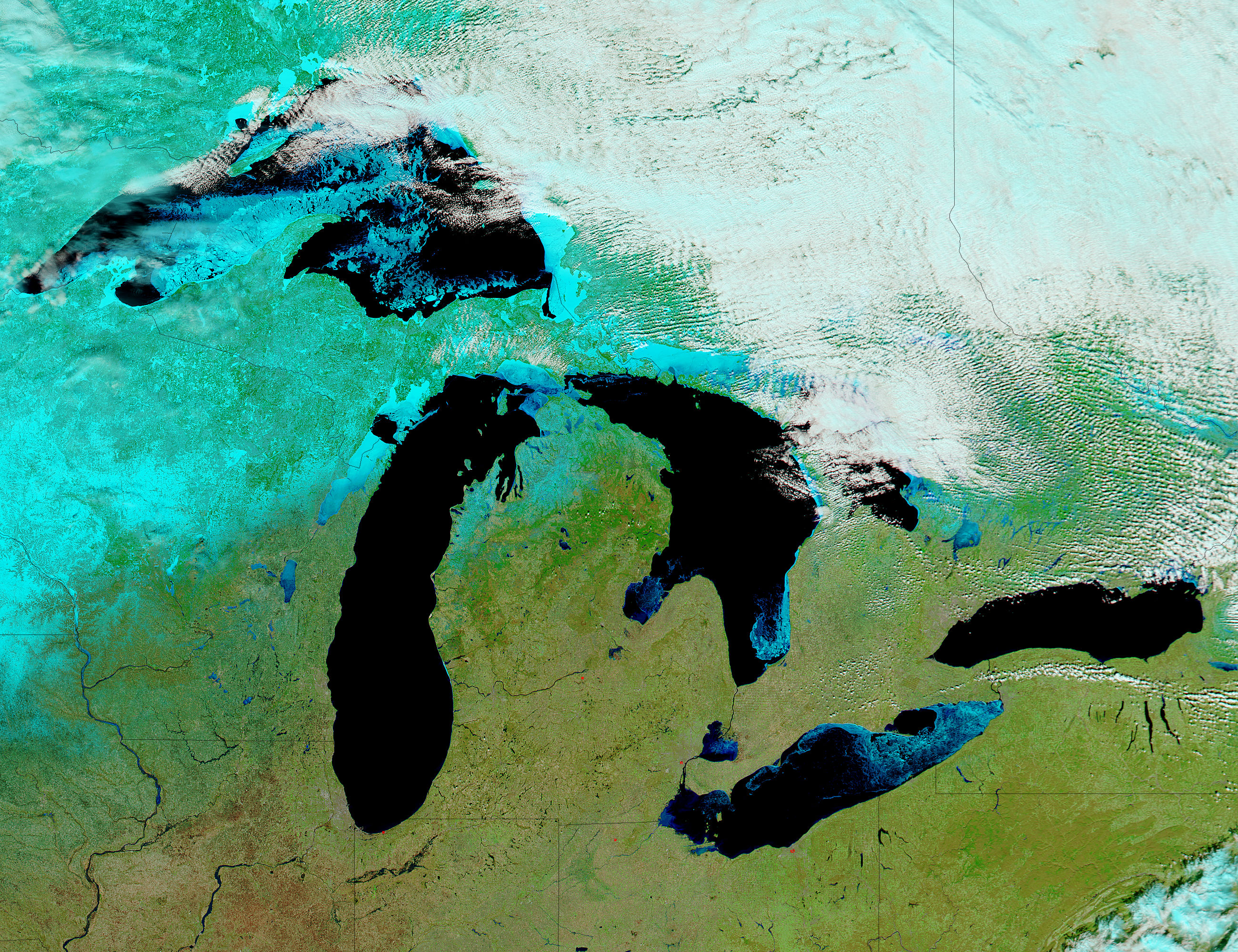 Ice on the Great Lakes (false color) - related image preview