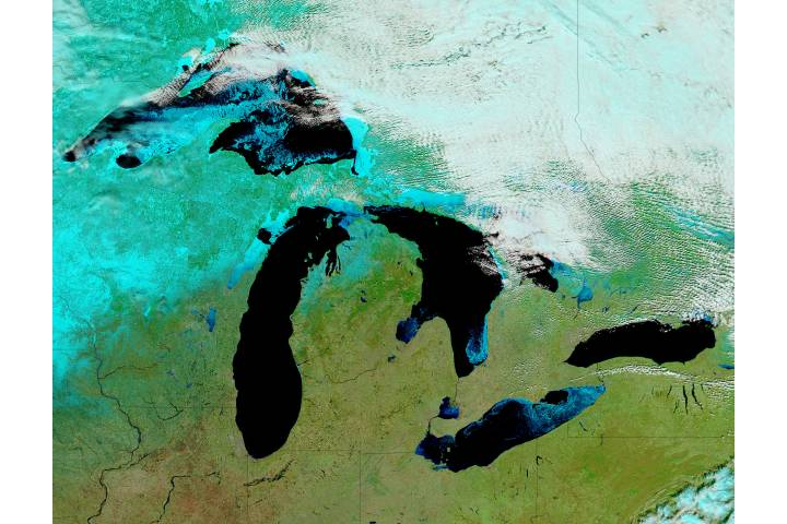 Ice on the Great Lakes (false color) - selected image