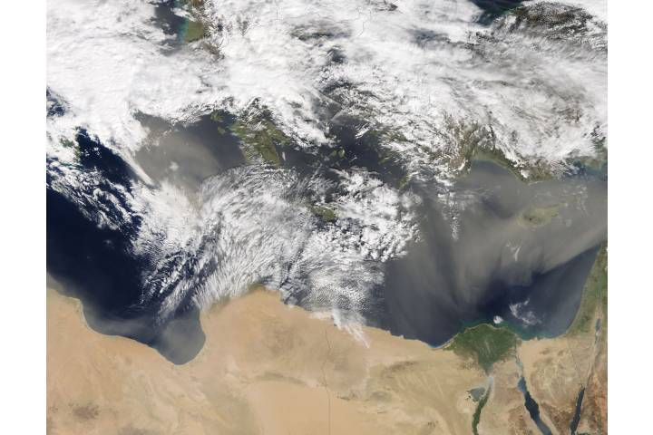Dust storms across the eastern Mediterranean Sea - selected image