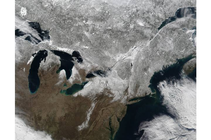 Snow across northeastern United States and Canada - selected image