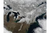 Snow across northeastern United States and Canada