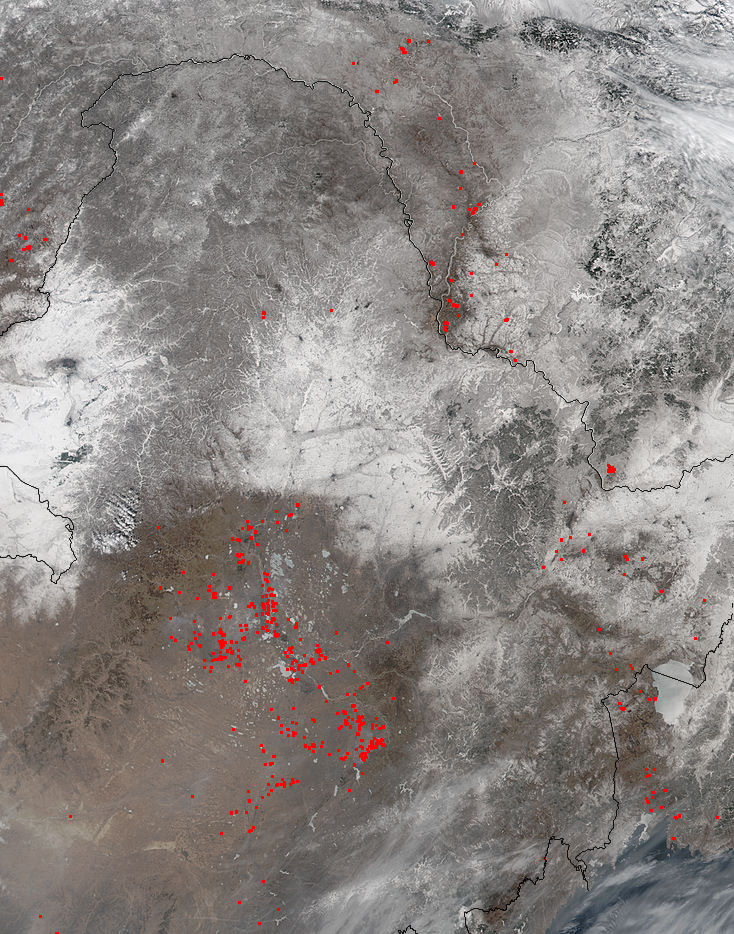 Fires and snow in eastern China and Russia - related image preview