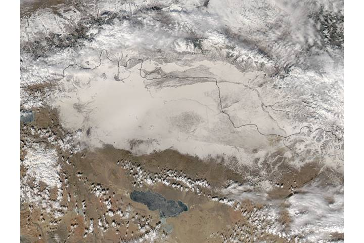 Dust on snow in western Mongolia - selected image