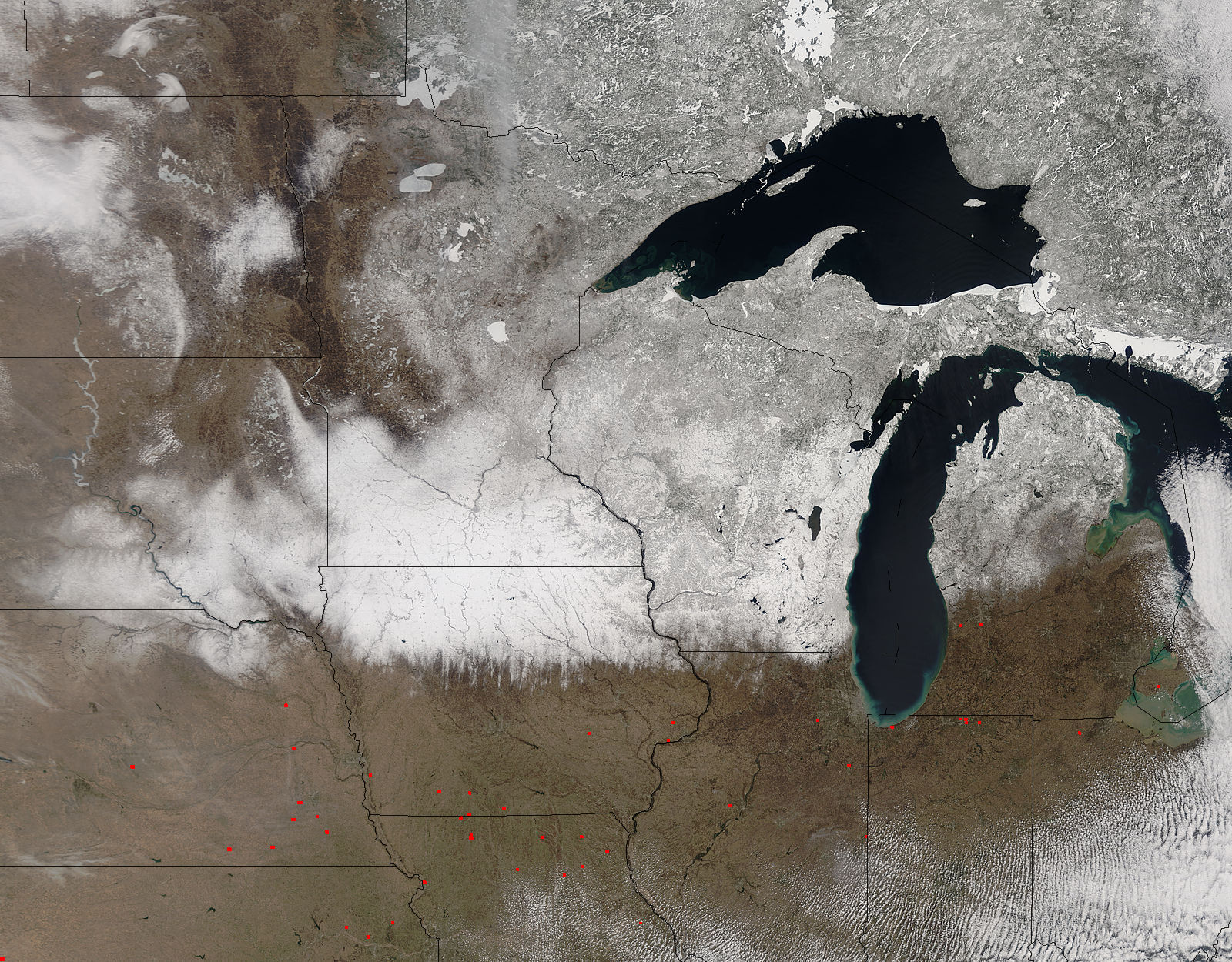 Spring snow across the upper midwest United States - related image preview